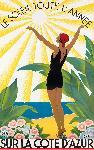 Affiche vintage de Roger BORDERS Sur la Côte d'Azur