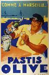 Affiche vintage Pastis Olive