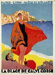 Affiche vintage de Roger BORDERS La plage de Calvi