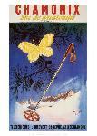 Affiche publicitaire de Jean LEGER Chamonix, ski de printemps
