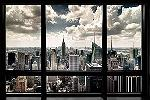 Affiche vue de Manhattan à New York depuis un appartement