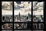 Affiche vue de Manhattan à New York depuis un appartement