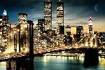 Photo vue de manhattan new york de nuit