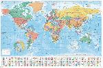 Poster carte monde World Map (Flags and Facts)