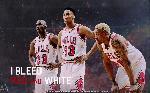 Affiche photo chicago bulls Michael Jordan, Scottie Pippen et Dennis Rodman