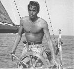 Photo noir et blanc Alain Delon sur bateau