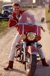 Poster photo Johnny Hallyday en moto