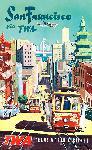 Affiche ancienne publicité compagnie TWA San Francisco
