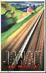 Affiche ancienne publicité Japon voie ferrovière