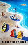 Affiche ancienne plage de France 1955