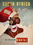 Affiche ancienne afrique du Sud Qantas