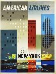 Affiche ancienne New York American Airlines