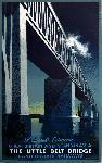 Affiche ancienne publicité A Link Between Great Britain and Scandinavia, The Little Belt Bridge, Danish State Railways