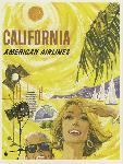 Affiche ancienne publicité California, American Airlines