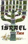 Affiche publicitaire ancienne Israel Fly TWA