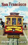 Affiche publicitaire vintage San Francisco, Cable Car, United Airlines