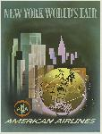 Affiche publicitaire vintage New York World's Fair, American Airlines