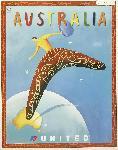 Affiche publicitaire vintage Australia, United Airlines