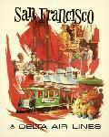 Affiche publicitaire vintage San Francisco, Delta Air Lines