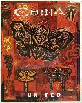 Affiche publicitaire vintage China, United Airlines