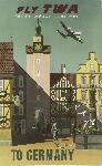 Affiche publicitaire vintage Fly TWA to Germany, Trans World Airlines