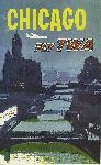 Affiche publicitaire vintage Chicago Fly TWA