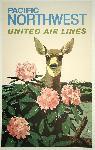 Affiche publicitaire vintage Pacific Northwest, United Air Lines