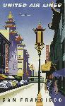 Affiche publicitaire vintage San Francisco United Air Lines