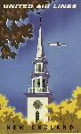Affiche publicitaire vintage New England United Air Lines