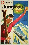 Affiche publicitaire vintage Switzerland Jungfrau Region, Skiing