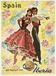 Affiche publicitaire vintage Spain, Iberia via Airlines of Spain