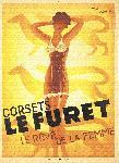 Affiche publicité vintage Corsets Le Furet by Roger Perot