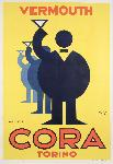Affiche publicité vintage Cora Vermouth Torino