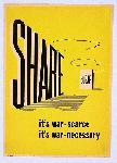 Affiche publicité vintage guerre Share Sugar, It's War