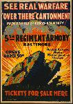Affiche publicité vintage guerre See Real Warfare, Over There Cantonment, 5th Regiment Armory Baltimore
