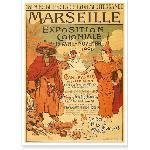 Affiche ancienne de l'exposition colonialede 1906 Marseille