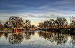Photo coucher de soleil sur lac en Allemagne
