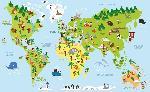 Carte monde effet cartoon avec illustration