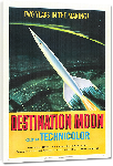 Toiles imprimées Affiche ancienne publicité : destination la lune