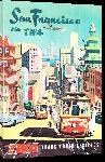 Toiles imprimées Affiche ancienne publicité compagnie TWA San Francisco