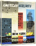 Toiles imprimées Affiche ancienne New York American Airlines