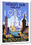Toiles imprimées Affiche ancienne publicité World's Fair Chicago 1934, Tour the World at the Fair
