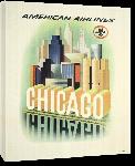 Toiles imprimées Affiche ancienne publicité Chicago, American Airlines