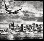 Toiles imprimées Poster en noir & blanc vue sur la ville de Sydney