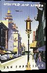Toiles imprimées Affiche publicitaire vintage San Francisco United Air Lines