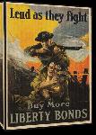 Toiles imprimées Affiche publicité vintage guerre Lend as They Fight, Buy More Liberty Bonds