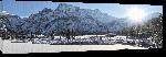 Toiles imprimées Photo rayon de soleil lac enneigé en Autriche