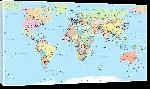 Toiles imprimées Carte du monde détaillé planisphère