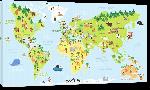Toiles imprimées Carte monde effet cartoon avec illustration