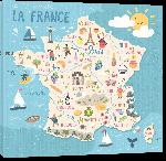 Toiles imprimées Carte de france dessinée avec illustration nourriture enfant monuments